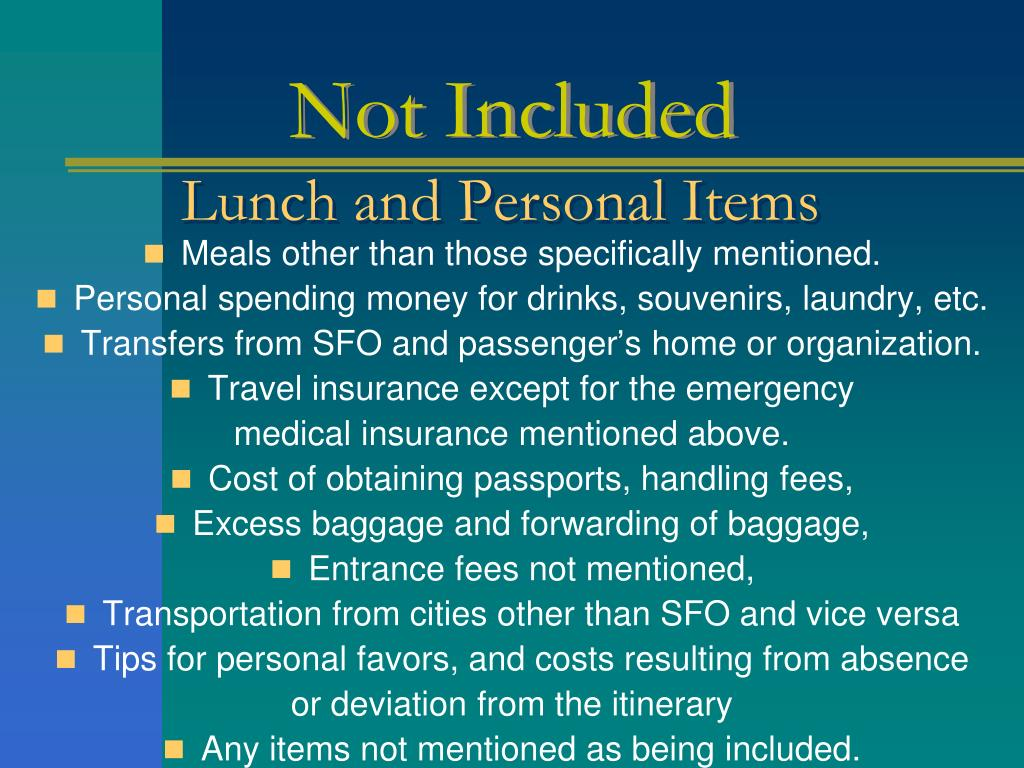 Lunch and Personal Items