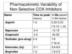 pharmacokinetic variability of non selective cox inhibitors
