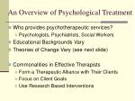an overview of psychological treatment