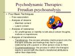 psychodynamic therapies freudian psychoanalysis