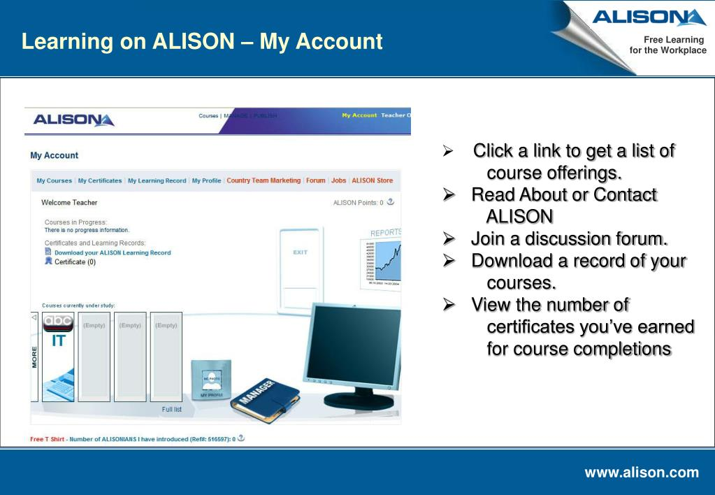 Learning on ALISON – My Account