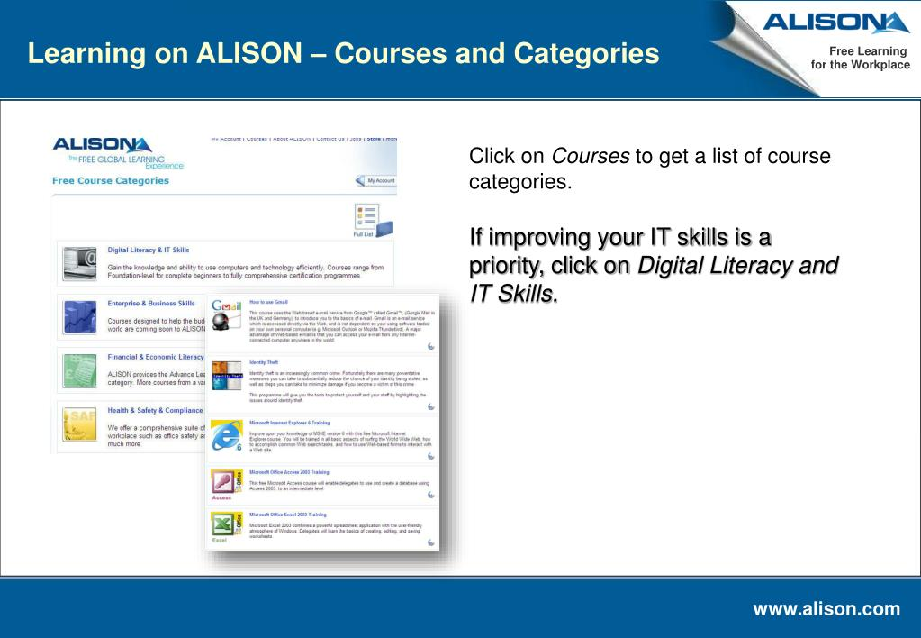Learning on ALISON – Courses and Categories
