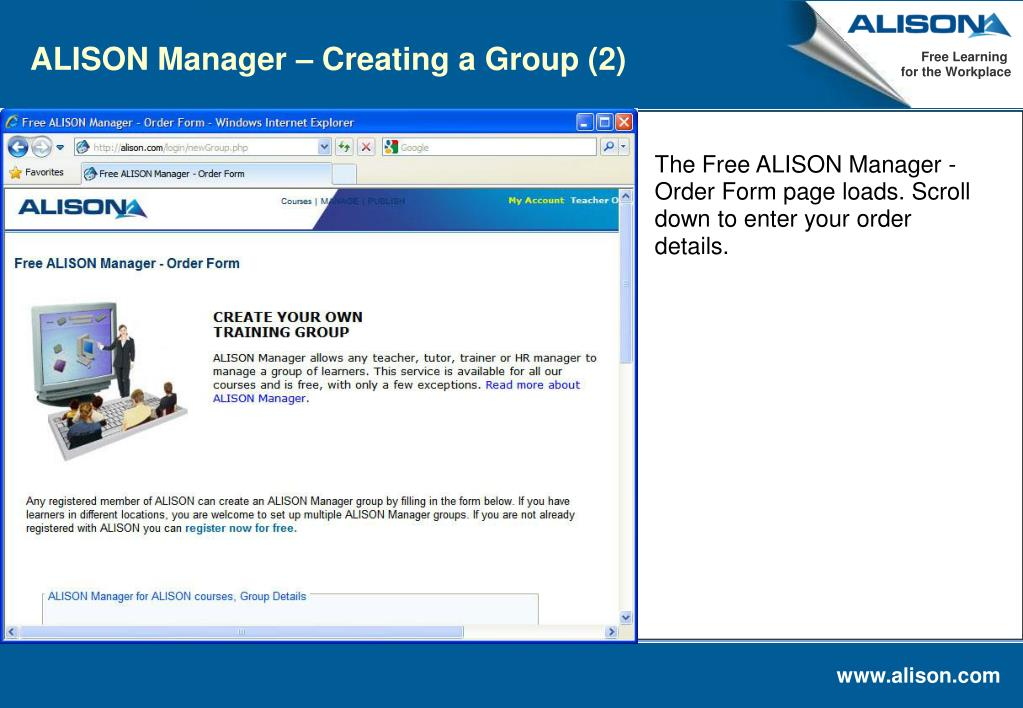 ALISON Manager – Creating a Group (2)