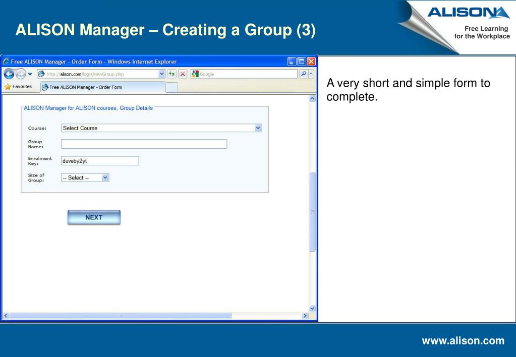 ALISON Manager – Creating a Group (3)
