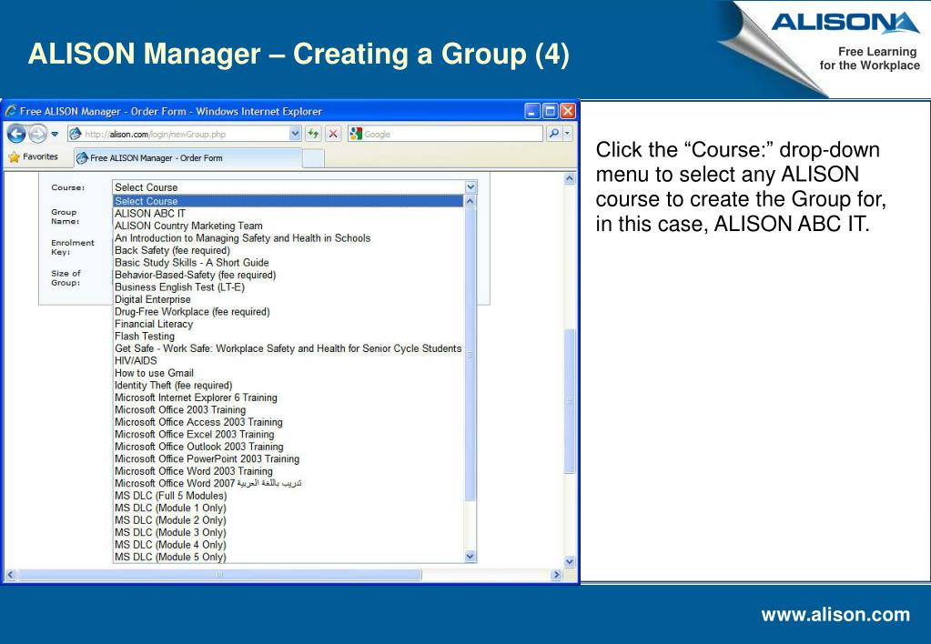 ALISON Manager – Creating a Group (4)