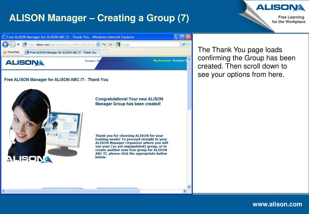ALISON Manager – Creating a Group (7)