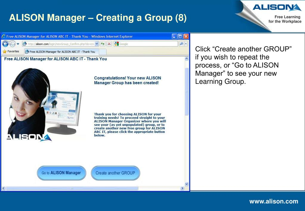 ALISON Manager – Creating a Group (8)