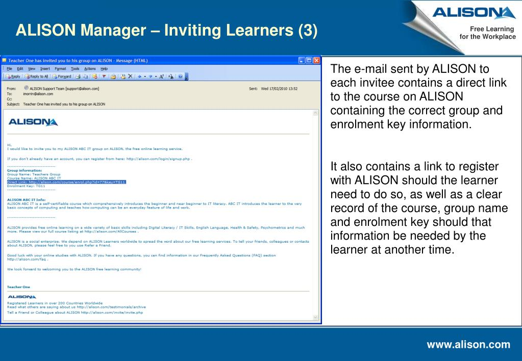 ALISON Manager – Inviting Learners (3)