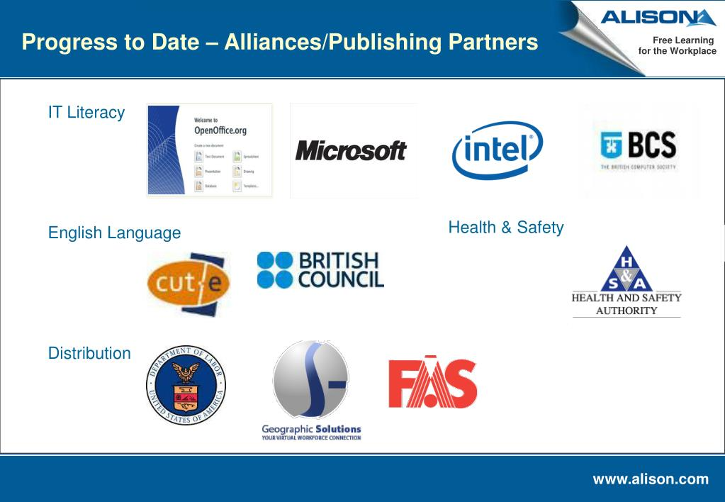 Progress to Date – Alliances/Publishing Partners