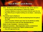 war of 1812 quick review
