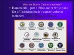 who are bush s cabinet members