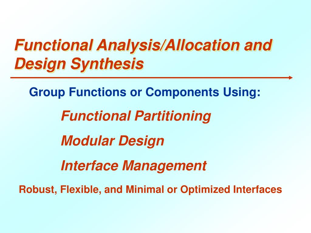 Functional Analysis/Allocation and Design Synthesis