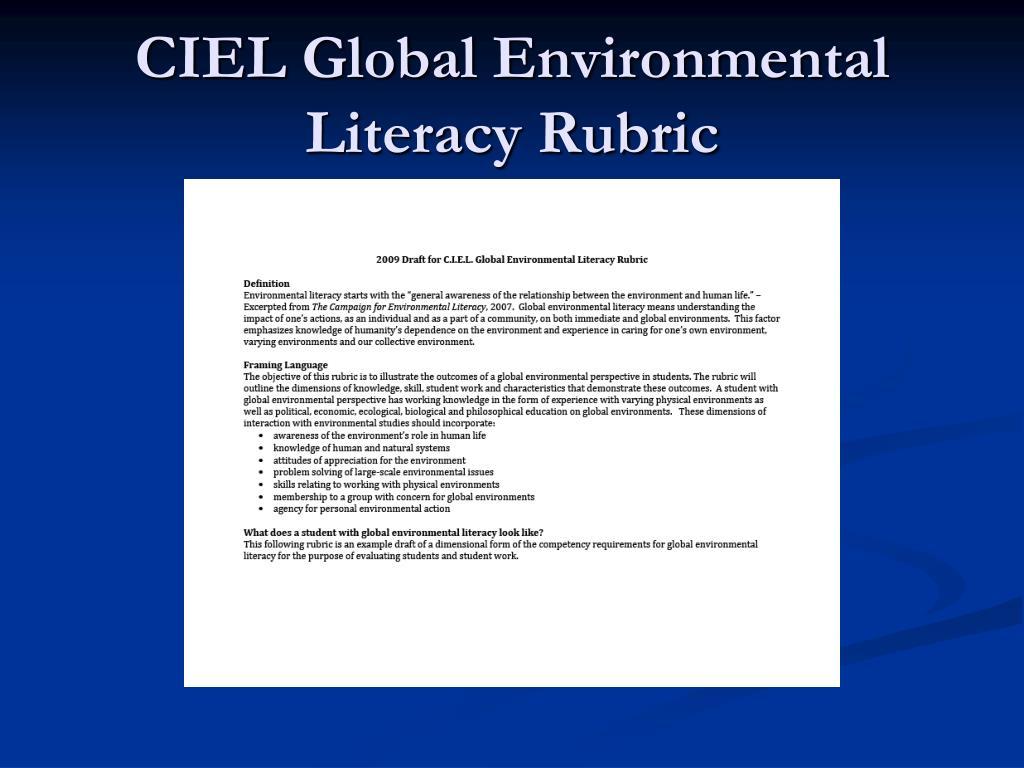 CIEL Global Environmental Literacy Rubric