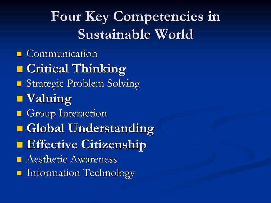 Four Key Competencies in Sustainable World