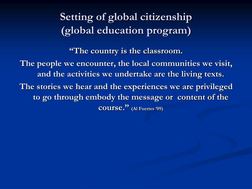Setting of global citizenship