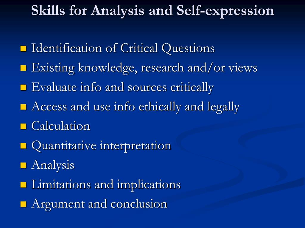 Skills for Analysis and Self-expression