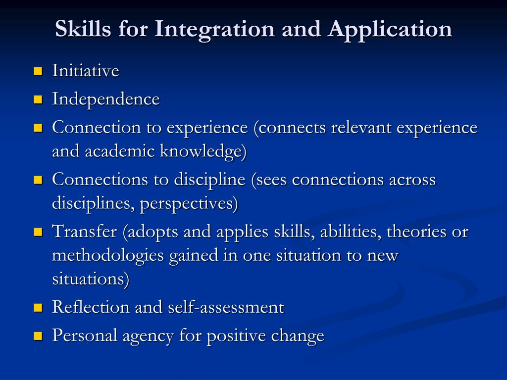 Skills for Integration and Application