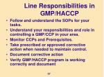 line responsibilities in gmp haccp