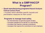 what is a gmp haccp program