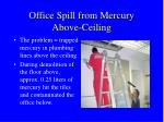office spill from mercury above ceiling