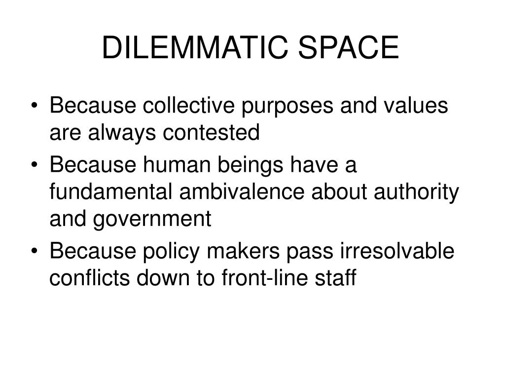 DILEMMATIC SPACE