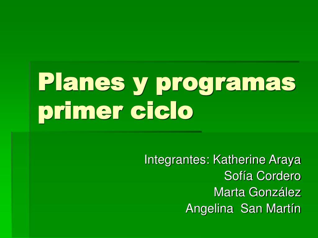 planes y programas primer ciclo l.