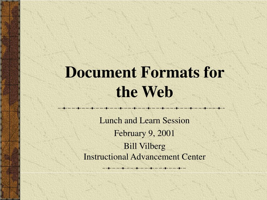 document formats for the web l.