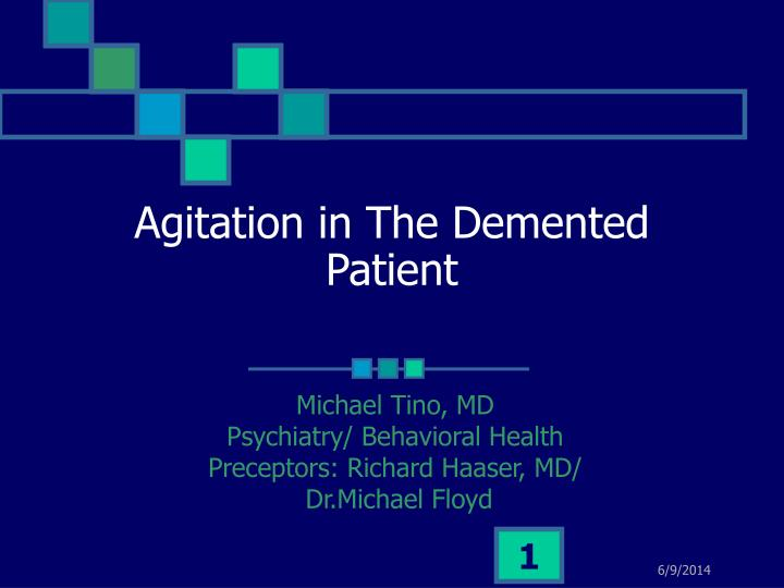 agitation in the demented patient n.