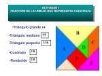 actividad 1 fracci n de la unidad que representa cada pieza