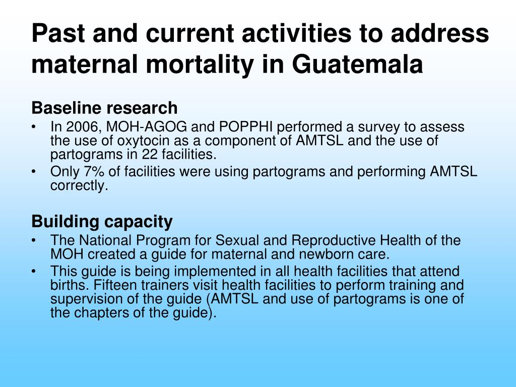 Past and current activities to address maternal mortality in Guatemala