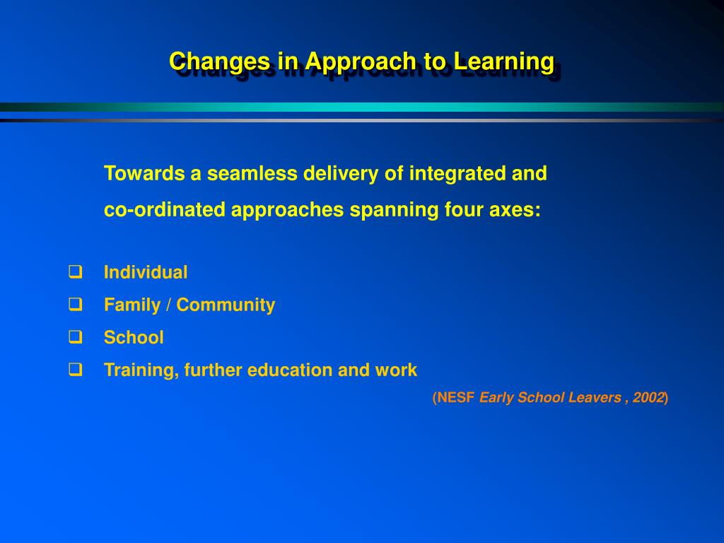 Changes in Approach to Learning
