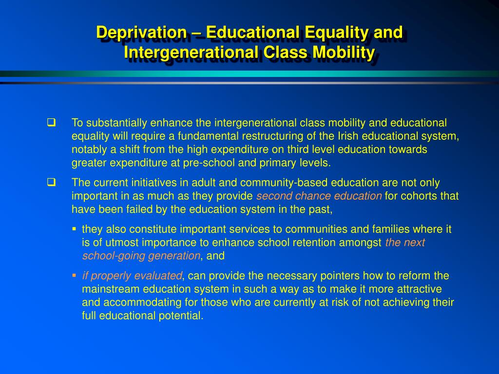 Deprivation – Educational Equality and
