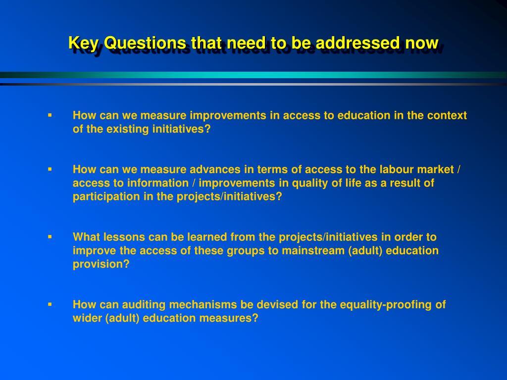 Key Questions that