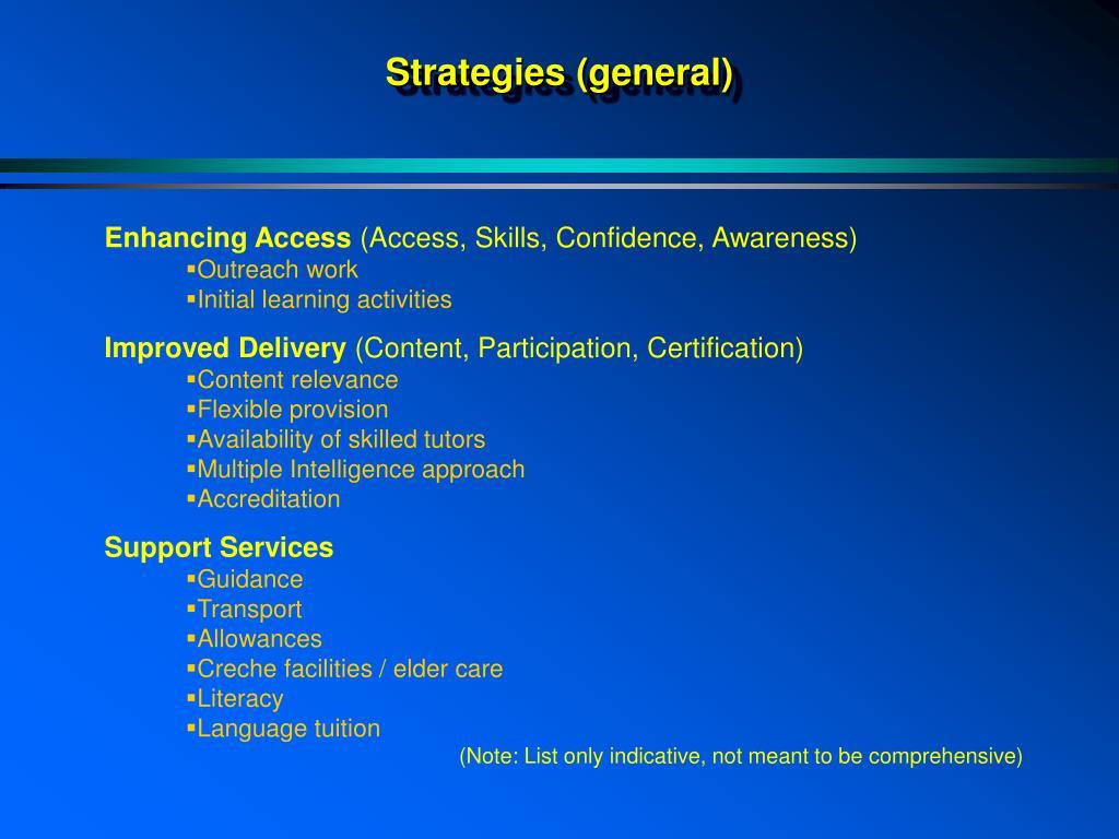 Strategies (general)
