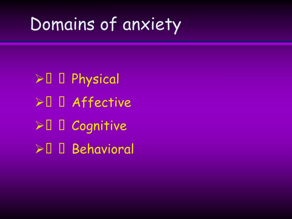 Domains of anxiety