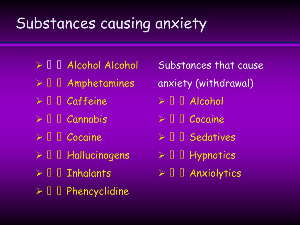 Substances causing anxiety