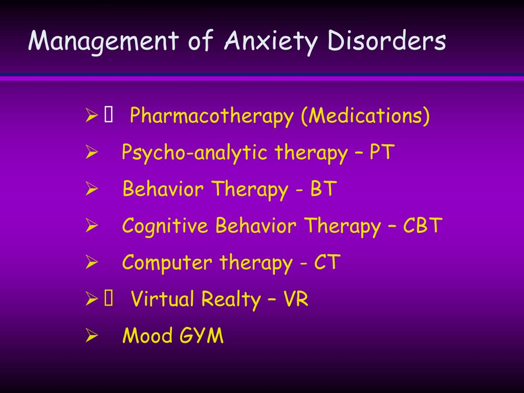 Management of Anxiety Disorders