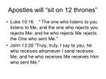 apostles will sit on 12 thrones