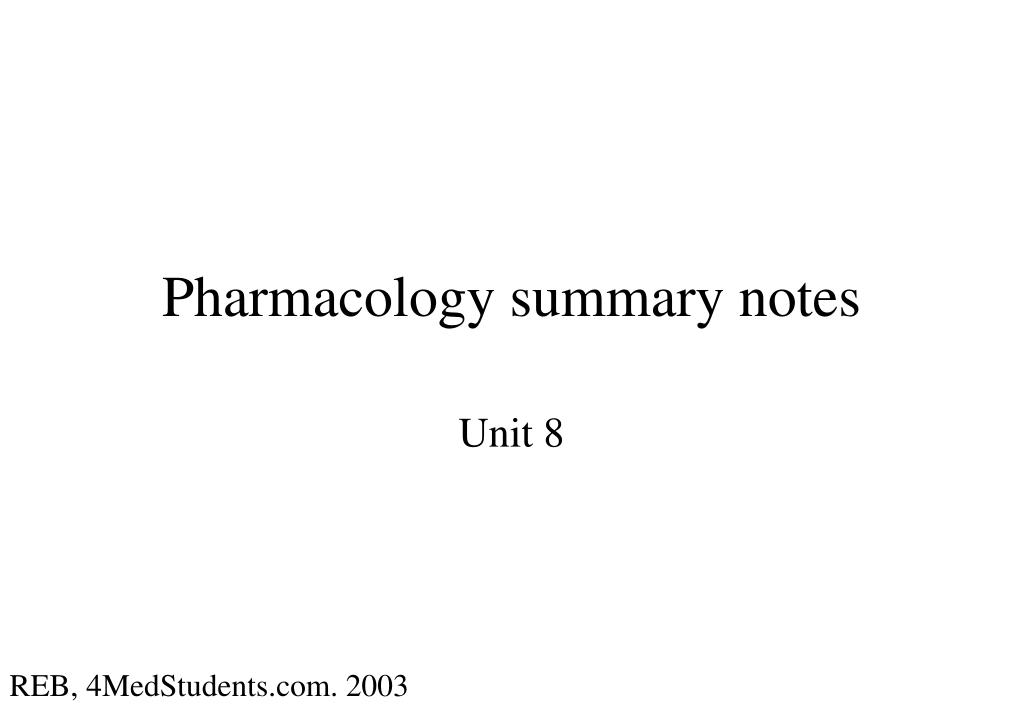 pharmacology summary notes l.