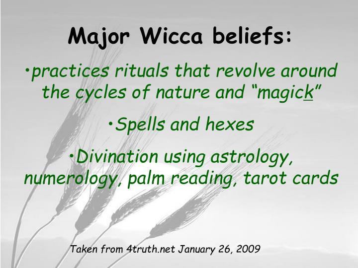 Major Wicca beliefs: