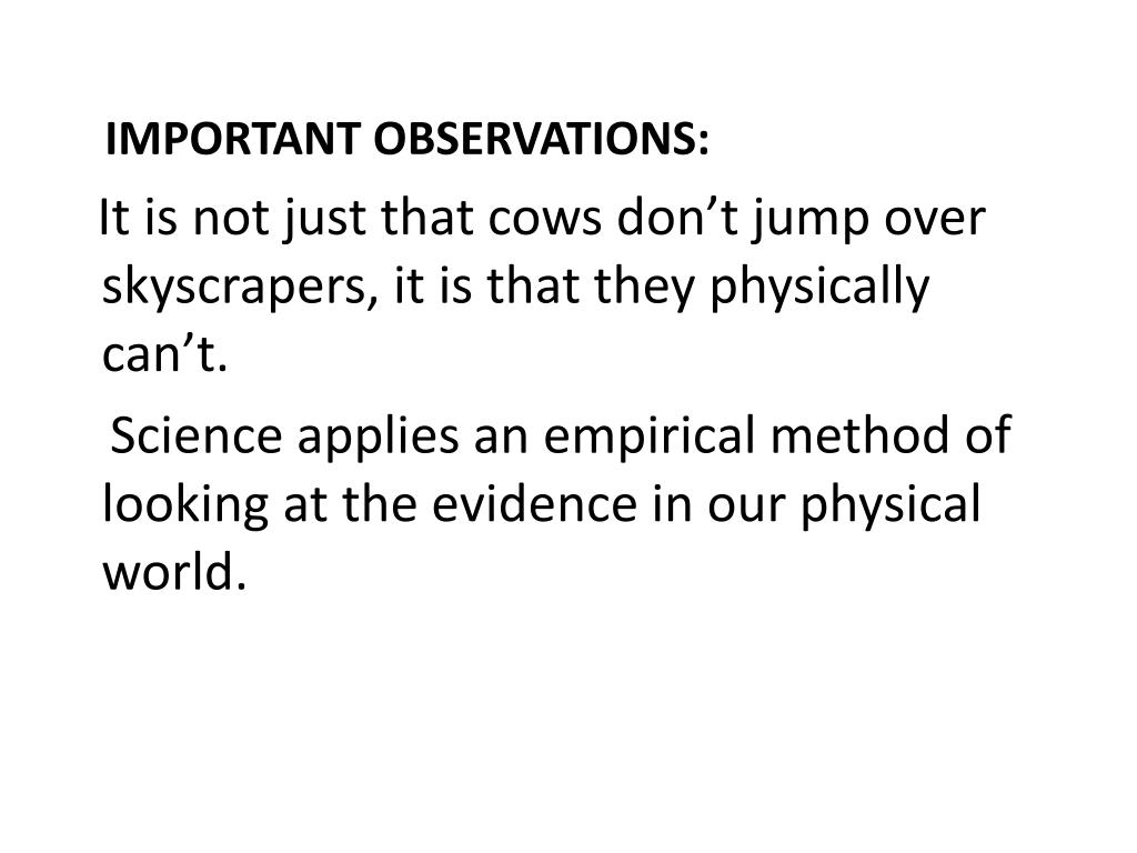 IMPORTANT OBSERVATIONS: