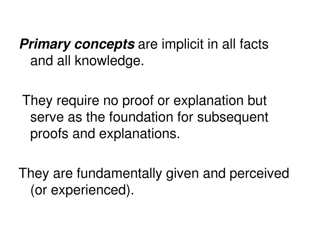 Primary concepts