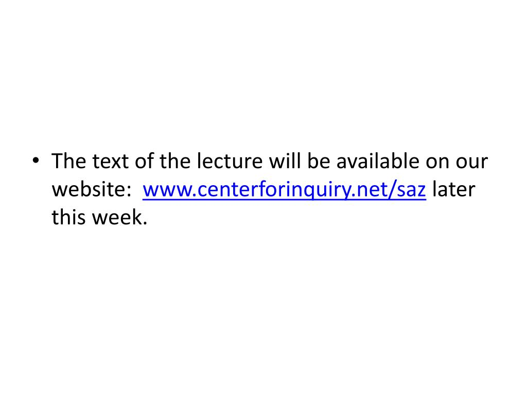 The text of the lecture will be available on our website: