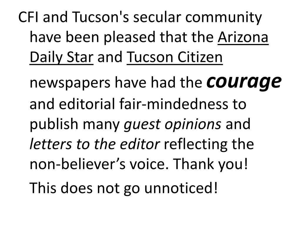 CFI and Tucson's secular community have been pleased that the