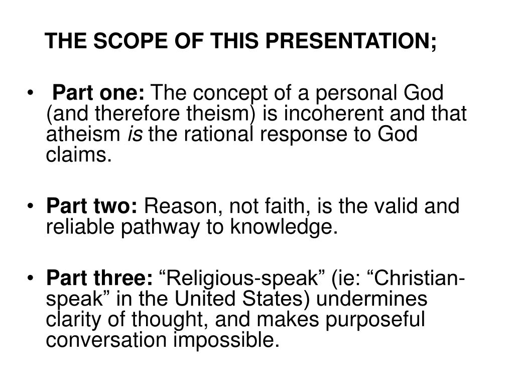 THE SCOPE OF THIS PRESENTATION;