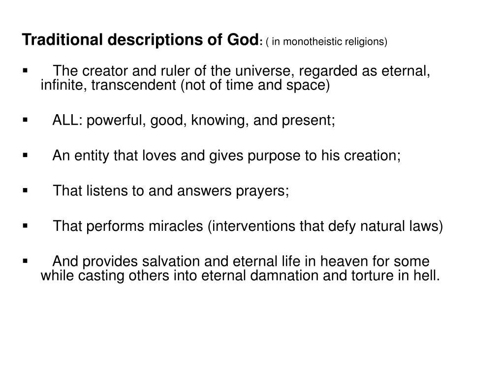 Traditional descriptions of God