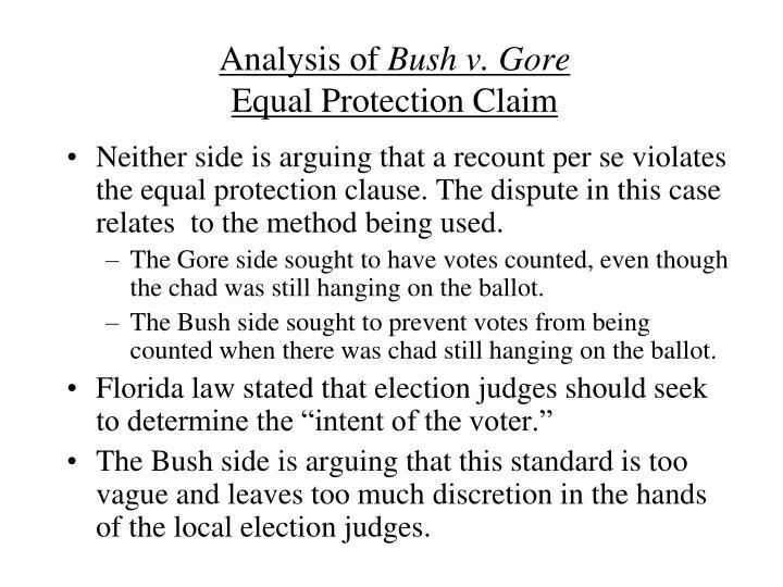 Analysis of bush v gore equal protection claim