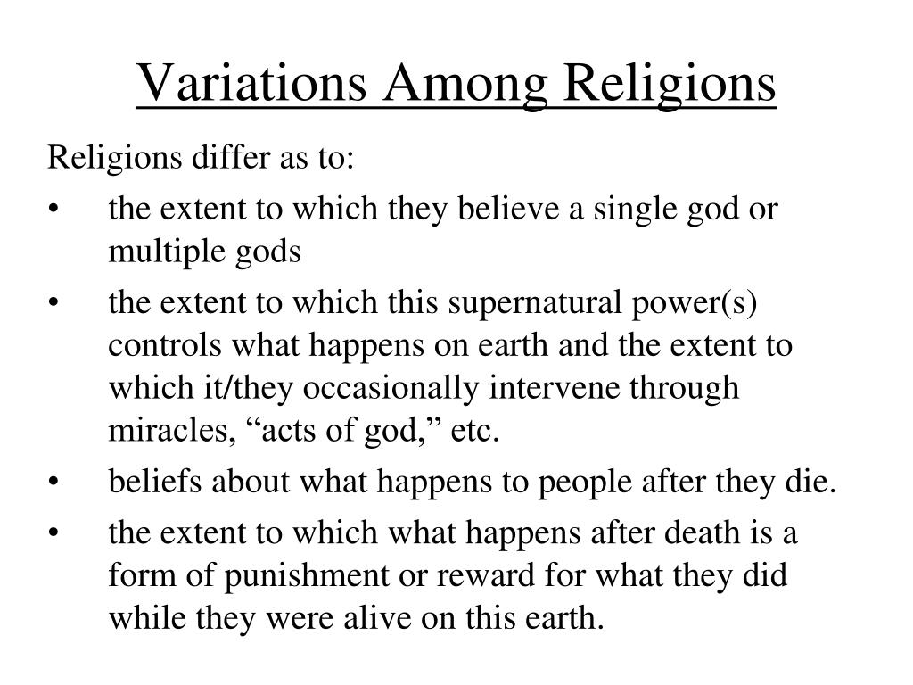 Variations Among Religions