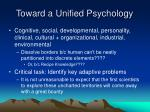 toward a unified psychology