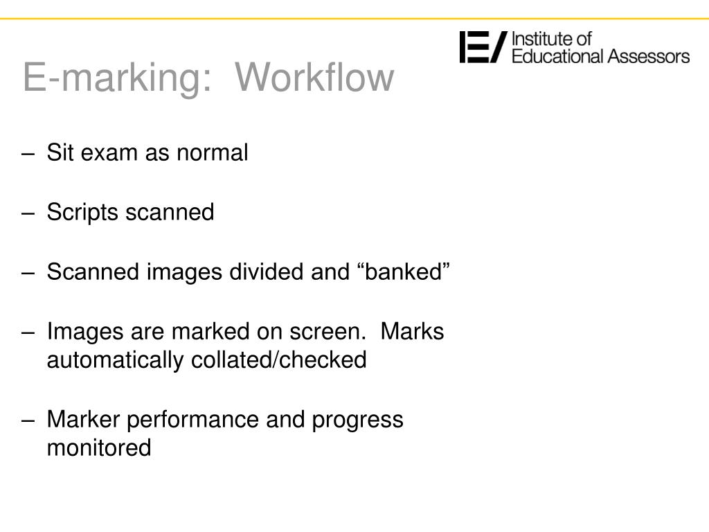 E-marking:  Workflow